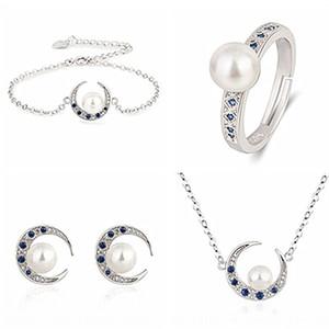 4jcZB coreano cor estilo jóias de prata Natural White Crescent conjunto pulseira Brinco de Pérola Pérola Azul apontou cristal pulseira colar anel