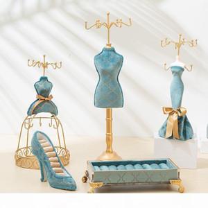 vitrine presente de casamento rack de exibição de jóias azul bronzeamento nova retro Europeia Mannequin jóias estande personalidade pavão