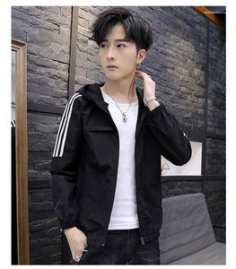 Print Long Sleeve Mens Casual Slim Outerwear with Pocket Mens Designer Jackets Regular Length Zipper Hooded Coats Striped