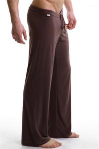 Softable Breathable Mens Sleepwear Solid Color Long Pants Belt Summer Mens Designer Bottoms Black White Plus Size Casual