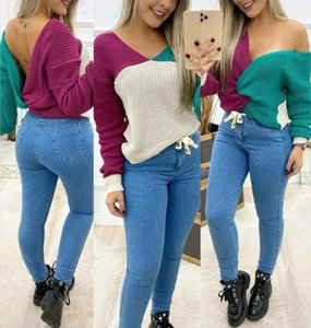 Women Sexy Patchwork Sweater V Neck Long Sleeve Sweater Backless High Street Casual Loose Streetwear Korean Fashion Tops 2020