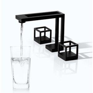 Tuqiu Havzası Musluk Siyah Kare Banyo Lavabo Bataryası 3 Delik Yaygın Havzası Mikser Sıcak Ve Soğuk Su dokunun Yeni Gelenler