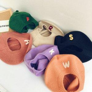 2020 New Letter Unisex Kid Beret Cute Cat Shape Hat Winter Cap Autumn Punk Beret Hat Solid Children Wholesale Kid