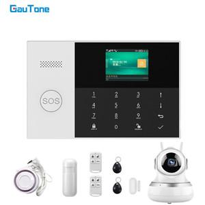 GauTone PG-105 WIFI GSM Alarm System 433MHz Home Security inteligente Detector PIR Kits RFID com câmera APP Controle IP