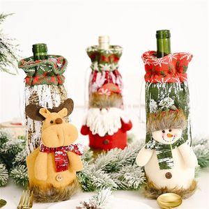 Weihnachten Weinflasche Abdeckung Weihnachtsmann Snowman Elk Stocking Geschirr für Weihnachten Neujahr Dekoration DHE1246