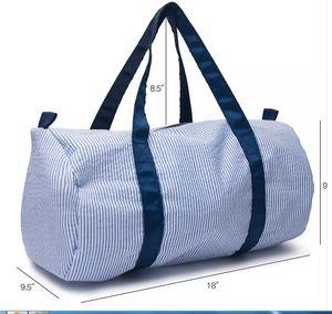New-18 * 9 * 9,5 pollici Personalizza seersucker Duffle Bag all'ingrosso Blanks bambini Barrel Bag Preppy bambini Travel Bag