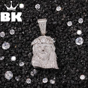 THE BLING KING Custom Cartoon Jesus Necklace HipHop Full Iced Out Cubic Zirconia gold sliver CZ Stone Lovely Top Quality Hiphop