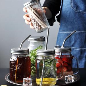 Солома тумблеры Mason Cup Clear Glass Овощной салат баночке с крышкой соломы Завтрак Сок стекла Стро Кубок XD23798