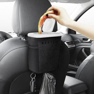 Waterproof Trash Can Car Auto Péssima Can Titular Automobiles Storage Bag Acessórios Auto assento Voltar Trash Bin Paper Dustbin Qn8T #