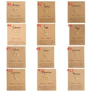 Frauen Art und Weise Goldhalsketten-Konstellation-12 Sternzeichen Halskette Horoskop-Zeichen Zircon Korean Schmuck Geschenk mit Klein-Karte 50pcs / lot