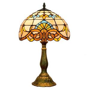12 inç Avrupa Tiffany'nin vitray yatak odası başucu lambası restoran bar yaratıcı lamba barok dekoratif masa lambası Retro