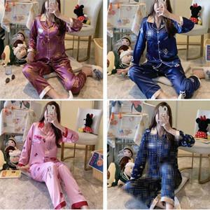 Mujeres de lujo de seda ropa de dormir instubre estampado dama pijamas conjuntos banquete de fiesta personalidad mujer dos piezas ropa de dormir