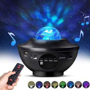 LED 스타 프로젝터 나이트 라이트 뮤직 물 웨이브 프로젝터 조명 Blueteeth 음성 제어 음악 플레이어 화려한 스타 라이트 선물
