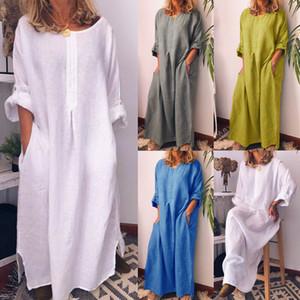 4 colori S-3XL donne allentate RIGONFIO maxi vestito LADIES lungo casuale MANICOTTO KAFTANO abito camicia FADDIS 62.300.033,178748 millions