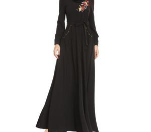 Lady Muslim Dress Women Black Embroidery Loose Long Sleeve Round Neck Festival Dress Islamic Clothing Vetement Femme44