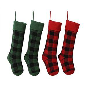 Las acciones de punto media de la Navidad de Navidad de la tela escocesa del búfalo de Navidad calcetines del caramelo bolsa de regalo de Navidad Decoración interior IIA424