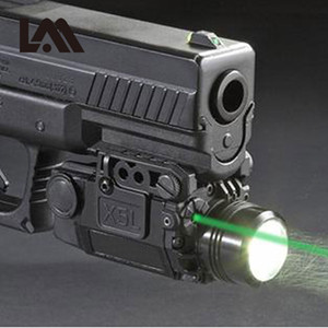2IN1 전술 X5L 그린 레이저 시력 콤보 LED 손전등 상수 / 스트로브 화이트 라이트 유니버설 권총 레이저 Pistola