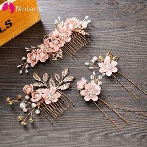 erröten rosa Hairpin für Frauen Haarkämme Kopfschmuck Prom Braut Hochzeit Crown elegante Haarschmuck Goldblätter Kopfbedeckung