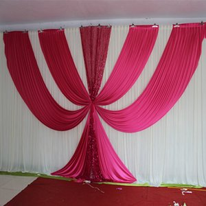 2020 New Design 3M*6M Fusia Ice Silk sequin swags and drapes wedding backdrop hot pink stage background event party decoration