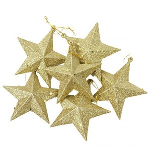 6pcs Five-pointed Star Plastic Decorations Festival Christmas Tree Star Mini