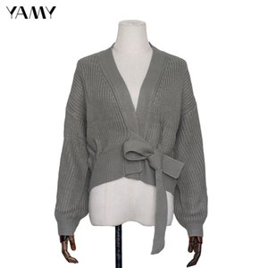 Top quality Womens green Sweater long sleeve Female Winter Cardigan with sashes chic Streetwear Womens za Knit Top Sweater 200921