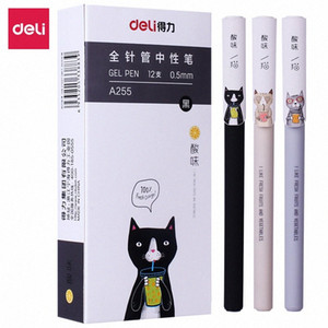 Deli Gel pen 3 pcs 0.5mm Korean Creative kawaii cute cat gel pen student writing for school office stationery supplies RjQL#