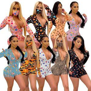 Sexy Women Deep V-neck Bodycon Sleepwear Jumpsuit Club Bodysuit Shorts Romper Bodysuit Leotard Long Sleeve Print