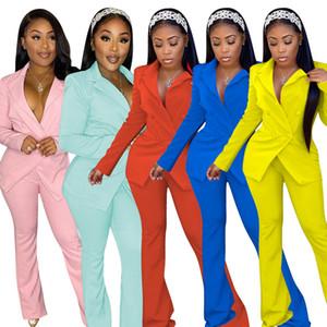 Diseñador de las mujeres del chándal de color sólido Casual Trajes la manga larga de las señoras de traje de dos piezas de moda trabajo profesional ropa 2020