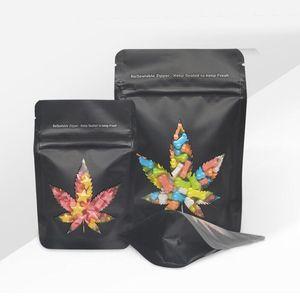 Siyah Koku Çocuk geçirmez çanta Mylar çanta ambalaj Penceresi Fermuar Kilit Kılıfı Çerezler Şeker Çocuk Dayanıklı Çık Çanta gummies yenilebilir Standı