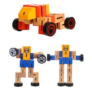 A hot seller of wooden morphing robots plays with model toys boys girls children educational autobots birthday presents