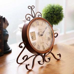 Antique Ferro Desk Clocks Europa Household Clocks Artesanato Retro Nostalgic Silencioso Relógio Ornamentos Início Detalhes no Old Furniture Zywf #