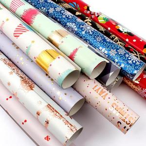 Weihnachten Geschenkpapier 50 * 70cm Rolle Geburtstag Geschenkpapier Frieden und Liebe Schneeflocke-Weihnachtsbaum-Geschenkpapier DHB1512