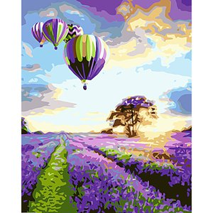Pintura creativa de la moda por Kits de números para pinturas de globo de aire caliente adulto- aceite de bricolaje lienzo pared del paisaje