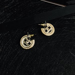 Hot sale letter diamond rice bead semicircle designer earrings personalized fashion earrings