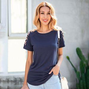 Romacci T-Shirt Women Color Block Patchwork Leopard Print Round Neck Raglan Sleeve Irregular Hemline Casual Tops