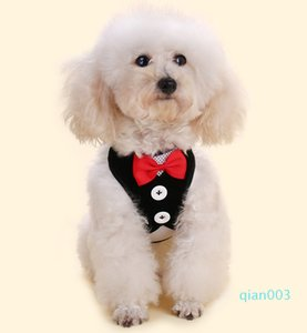 Brasão Small Dog Harness Tecido Dog Vest Vestido borboleta Bow Tie filhote de cachorro trelas Verão Pet Vestuário 12 Designs DHL gratuito LQPYW1117