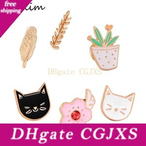 Chat coloré mignon Broches émail Badge PINS vêtements colorés Cartoon Succulentes Cactus Brooches Veste Sac Diy Badge