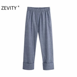 Zevity New Women Vintage Solid Color Hem Roll Up Straight Pants Femme Elastic Waist Trousers Ladies Retro Casual Chic Pants P954