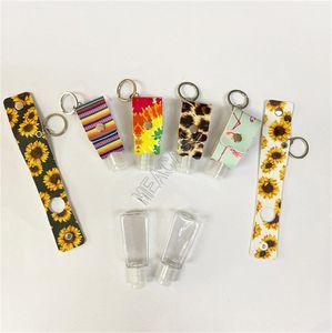 30ML Hand Sanitizer Bottle Sleeve Schlüsselanhänger PU-Leopard Sunflowers Printed bewegliche Hand Sanitizer Gel Flaschenabdeckung Sleeve Keyrings D92103