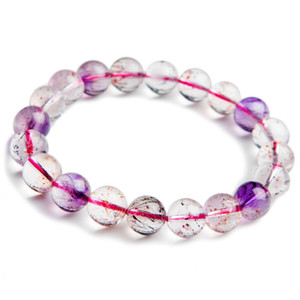 9.5mm Natural Genuine Super Seven Melody Stone Round Crystal Beads Stretch Charm Bracelet For Women