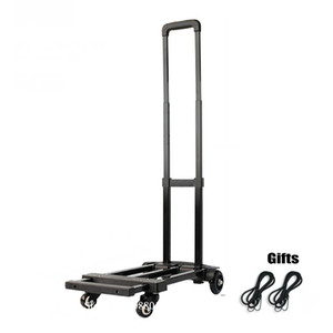 Folding Hand Truck, 120lbs Heavy Duty 4-Wheel Solid Construction Utility Cart, Lightweight for Lage, Portable Fold Up Dolly