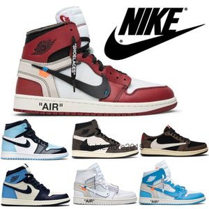 2020 Travis ts Scott Nike air jordan retro 1 Off white OW offwhite Basketball Sneakers Women Shoes In Autumn air 1 designer All Over Single Men Shoes