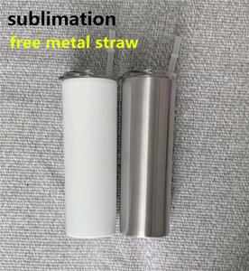 Metal saman vakum yalıtımlı seyahat kupa iyi hediye ile DIY süblime sıska mandal 20 oz paslanmaz çelik ince bardak düz taklacılar