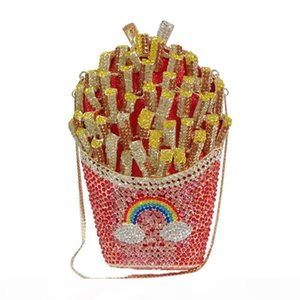 French Fries Diamond Bag Crystal Diamond Bag with Holes Metal Evening Trade Clutch