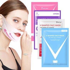 Efergo Double V Configura 4D Mascarilla Cara Hidratante Levantamiento de la barbilla Cara V Forma V Shape Mask Mask Mascarilla Para Slim Firf Piel Care 10pcs