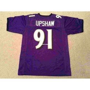 Cheap Retro Throwback personalizzato cucito cucito # 91 Courtney Upshaw viola MITCHELL NESS Top in jersey S-5XL, pullover di football 6XL Uomo