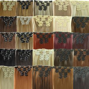 24 pulgadas 6pcs totales / set Con 16 clips puras y colores de la mezcla sintético largo clip recto en / en extensiones del pelo Un sistema para la cabeza completa