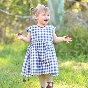 Adorable Kids Girls Short Sleeve Plaid Princess Dresses Party Casual Clothes Outfits cotton natural material July 30