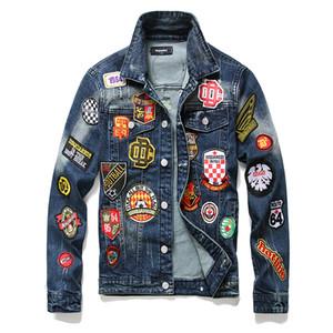 Diseñador 5a alta calidad superior para hombre del motorista de la motocicleta la letra de impresión denim bombardero manera de la chaqueta chaquetas de mezclilla delgada cazadora D2 Jean