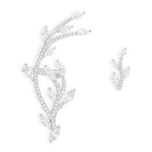 S925 Sterling Silver Asymmetric Festival Statement Leaf Ear Cuff With Stud Zirconia Tree Branch AB Clip Earrings For Women